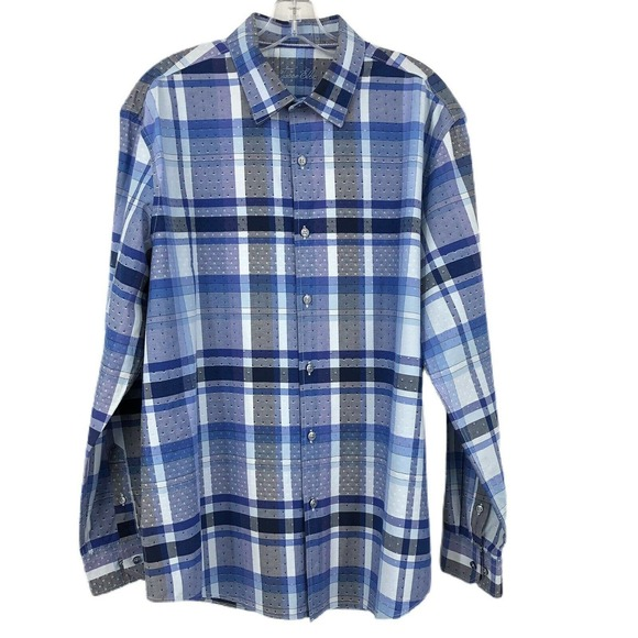 Tasso Elba Button Down Dress Shirt Plaid Blue Gray